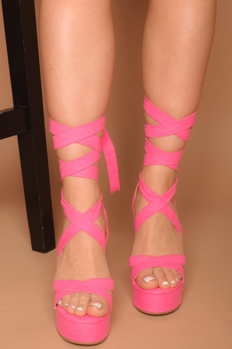 Adya Lace Up Wedges in Hot Pink Vegan Suede