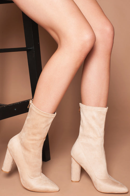 Eleanor Ankle Boots in Beige Vegan Suede