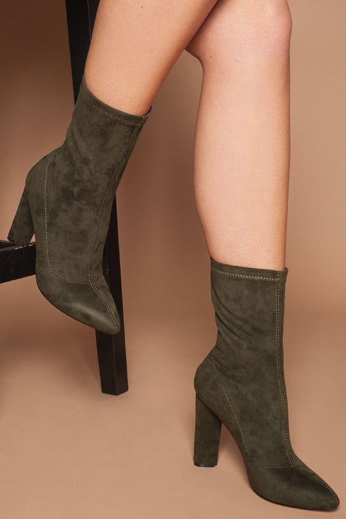 Eleanor Ankle Boots in Khaki Faux Suede