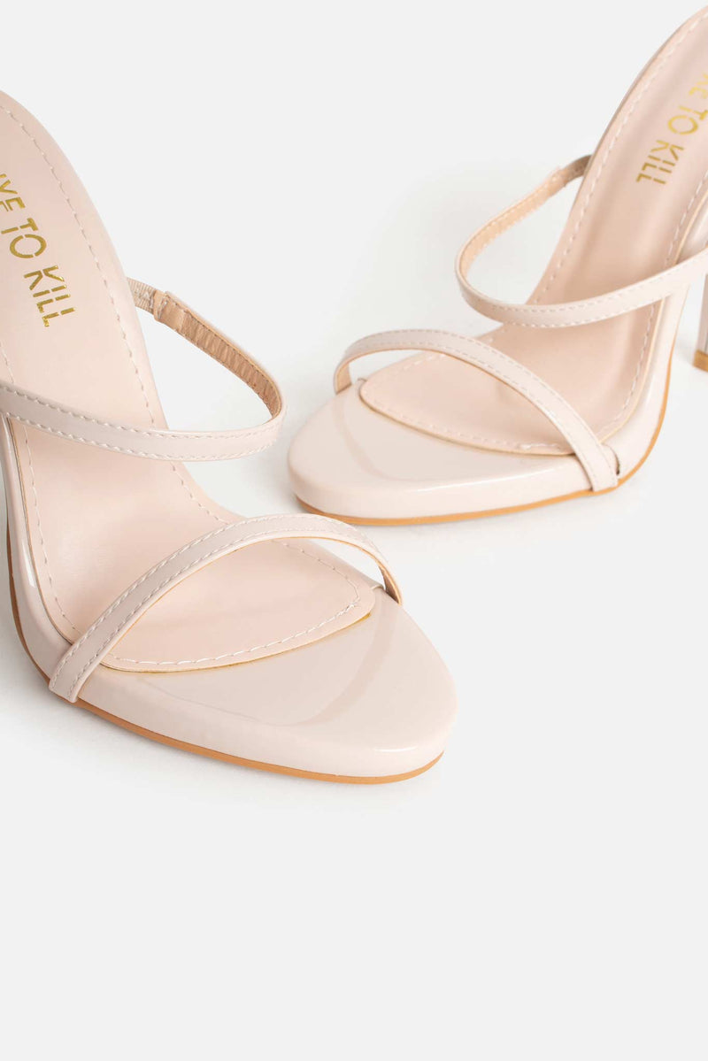 Erica Strappy Mules in Beige Matte Vegan Leather
