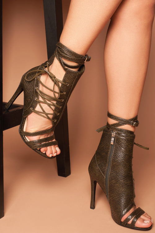 Francesca Lace Up Buckle Heels in Khaki Snake Print