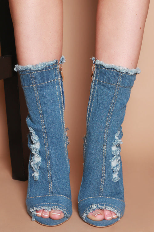 Gabriella Distressed Ankle Boots in Mid Blue Denim