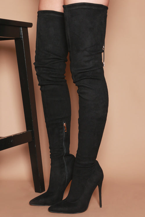 Hayley Skinny Heeled Thigh High Boots in Black Vegan Suede
