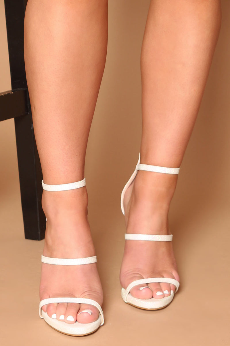 Holly Platform Heels in White Glitter Vegan Leather