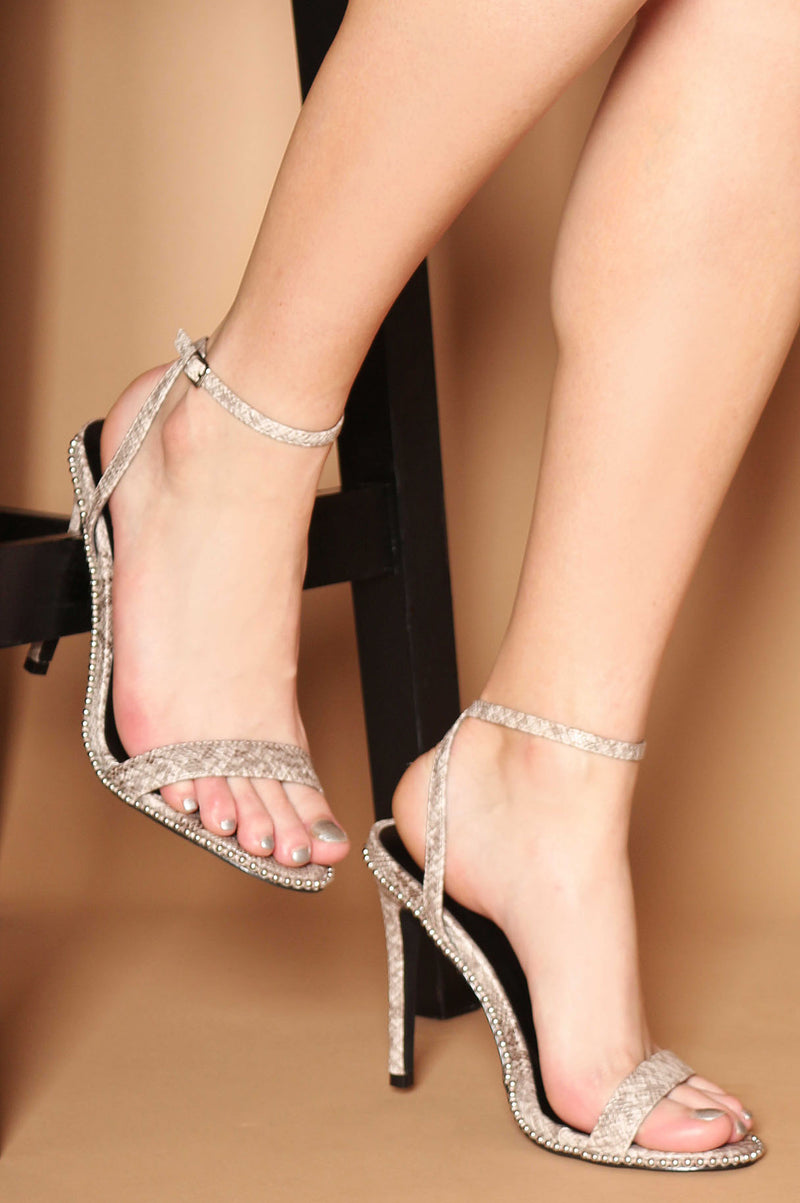 Talina Studded Strappy Heels in Grey Vegan Snake