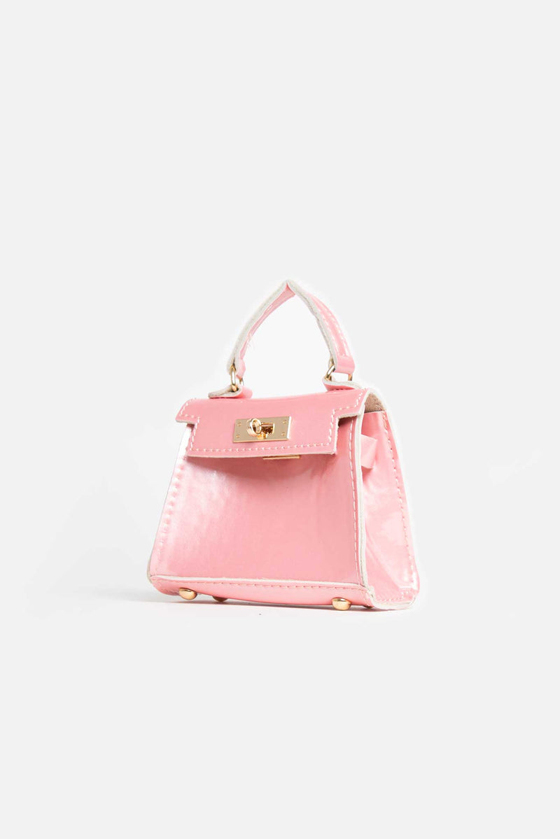 Pastel Pink Vegan Leather Chain Mini Bag