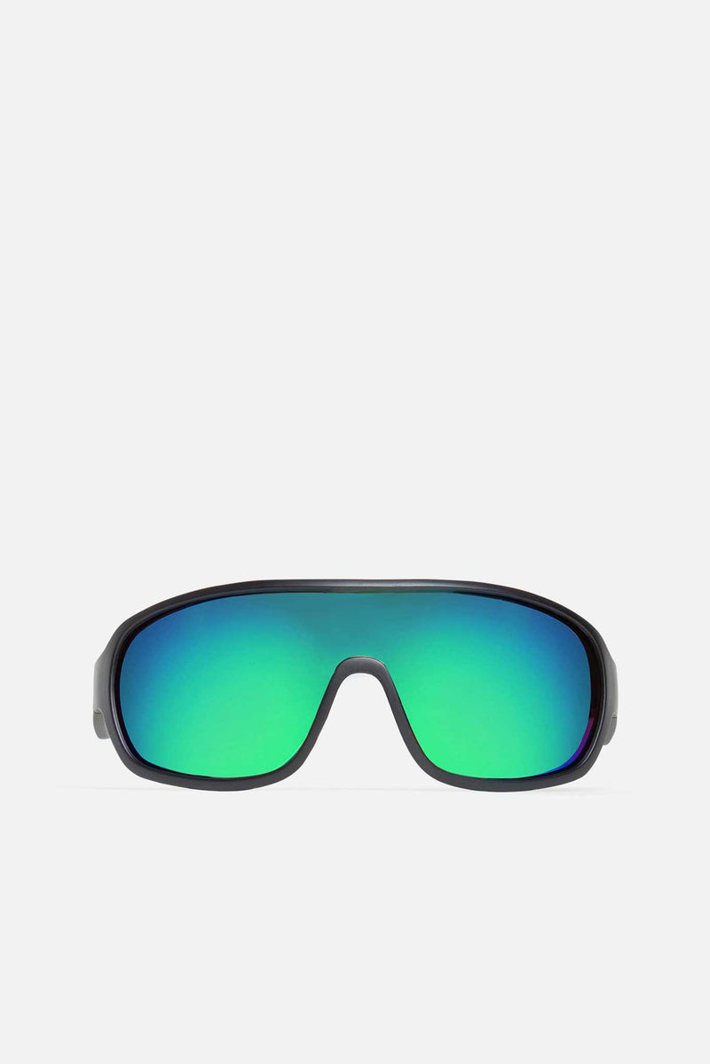 Black Retro Sport Rainbow Lens Sunglasses