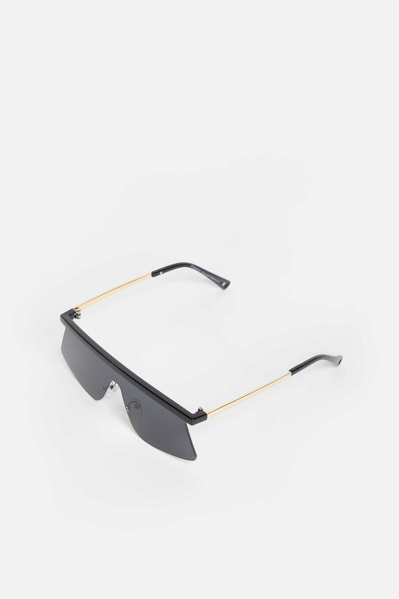 Black Straight Bridged Frameless Visor Sunglasses