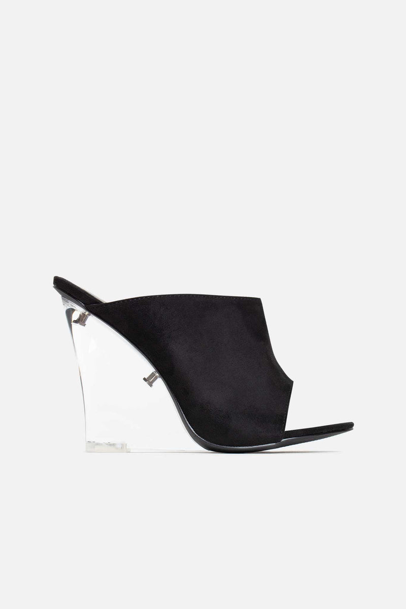 Jonie Perspex Mule Wedges in Black Vegan Suede