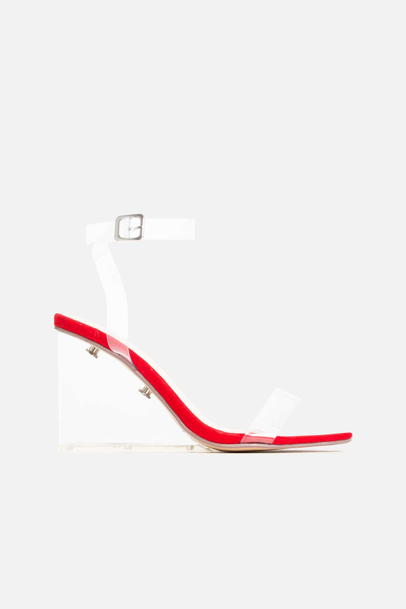 Davina Perspex Wedges in Red Vegan Suede