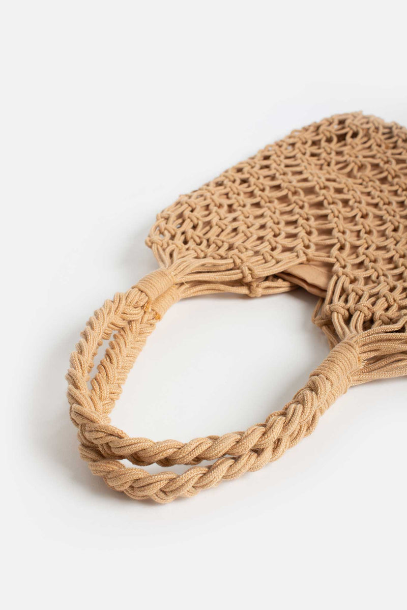 Tan Rope Crochet Beach Bag