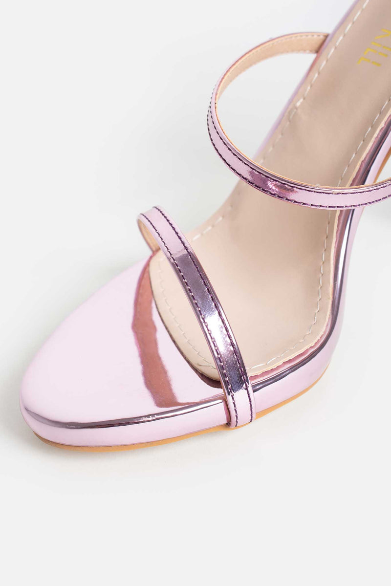 Jessica Platform Heels in Pink Metallic Vegan Leather