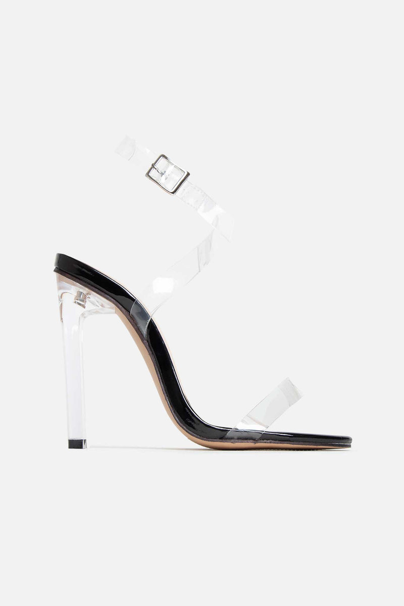 Paula Strappy Perspex Heels in Black Vegan Leather