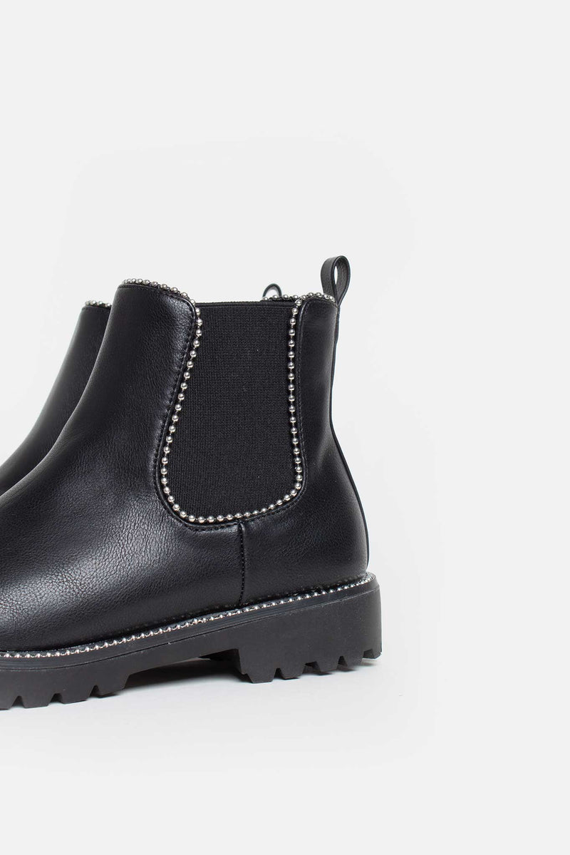 Sage Studded Ankle Boots in Black Vegan Leather