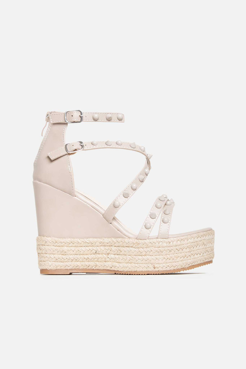 Brooke Studded Jute Wedges In Beige Vegan Leather