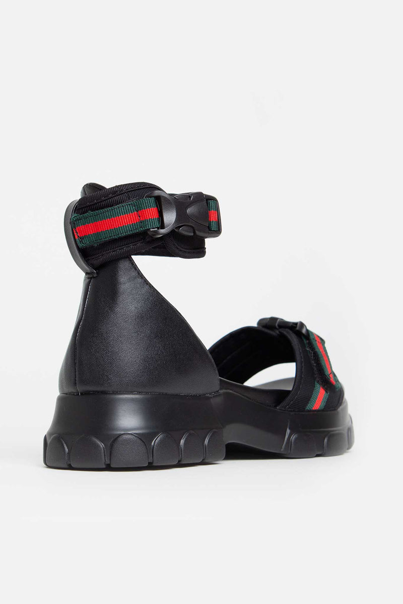 Catia Buckle Striped Flatform Sandals in Black Lycra