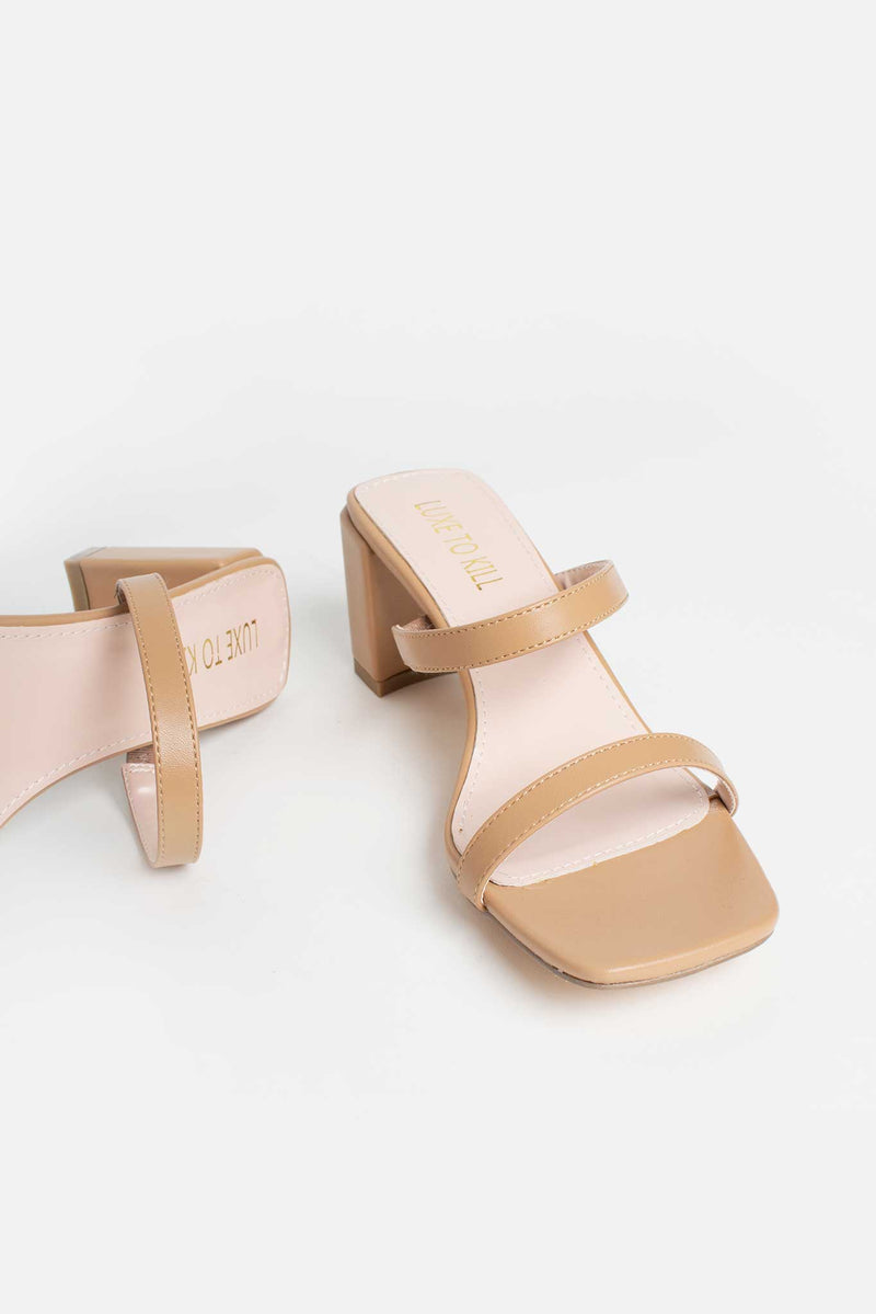Jolie Block Heeled Mules In Beige Vegan Leather