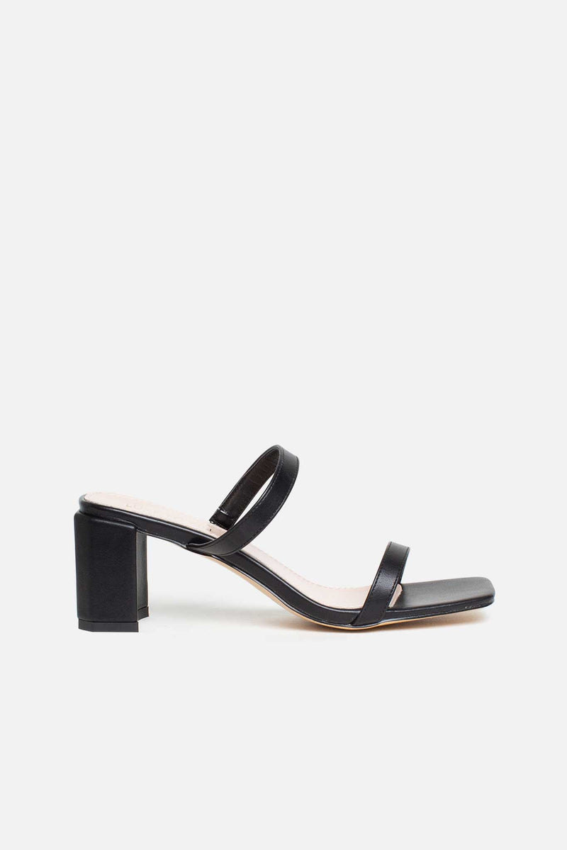 Jolie Block Heeled Mules In Black Vegan Leather
