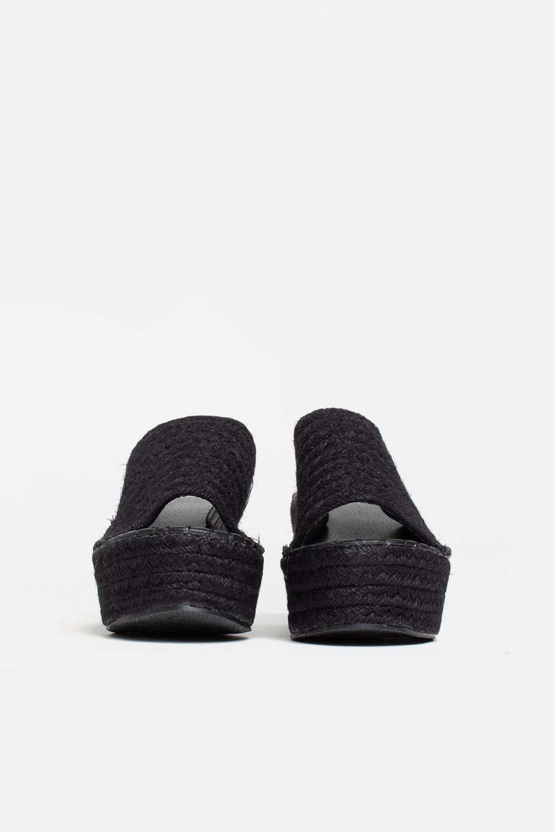 Seren Flatform Slip On Sliders In Black Jute