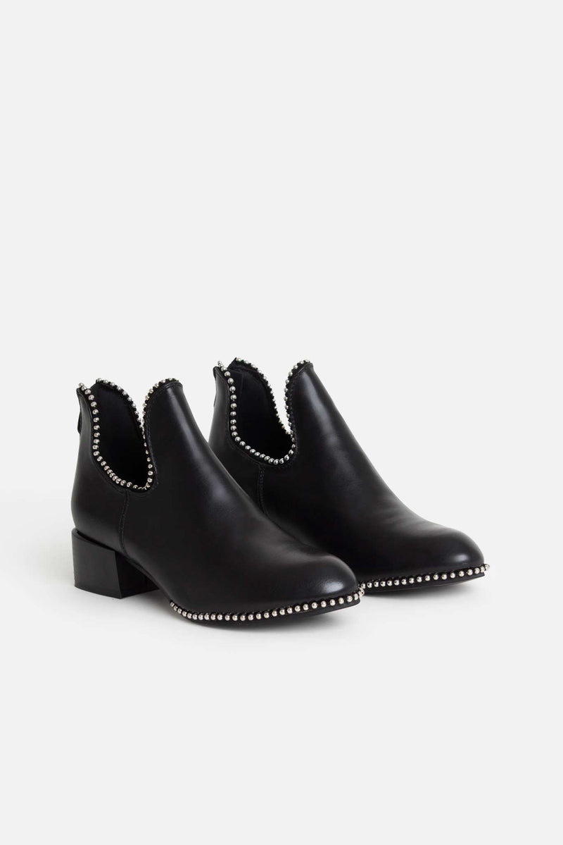 Shiloh Studded Ankle Boots in Black Vegan Leather