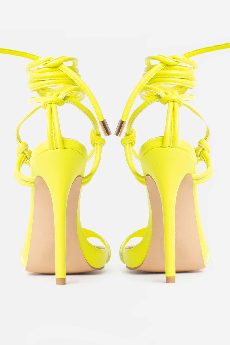 Jamilla Lace Up Stiletto Heels In Neon Yellow Vegan Leather