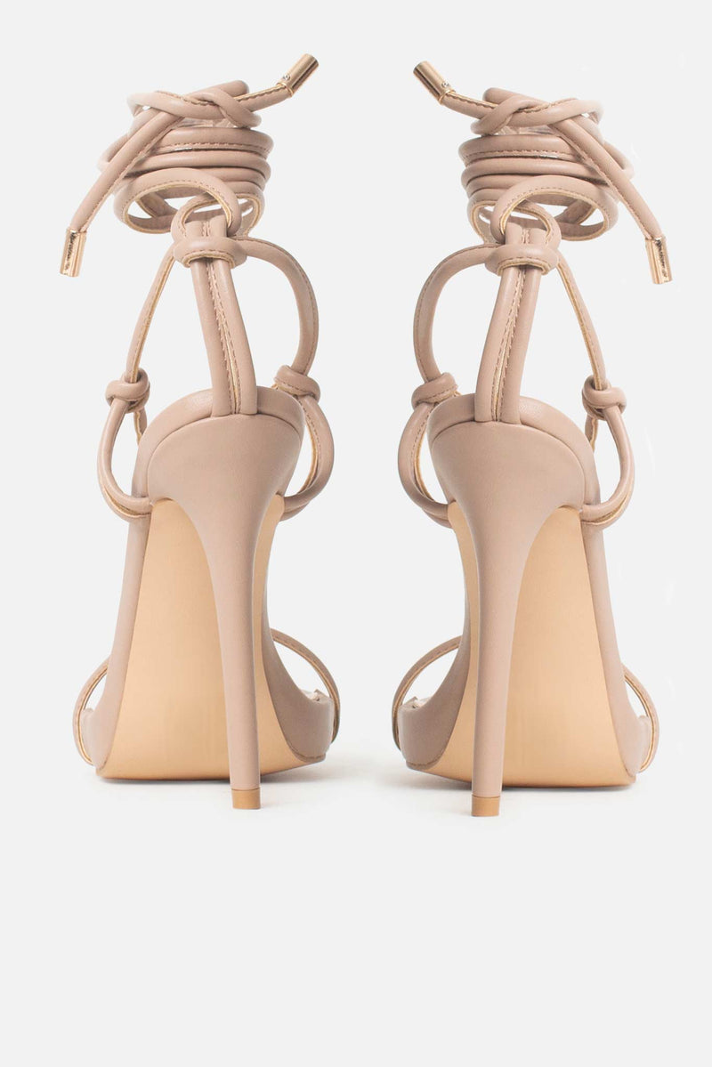 Jamilla Lace Up Stiletto Heels In Beige Vegan Leather