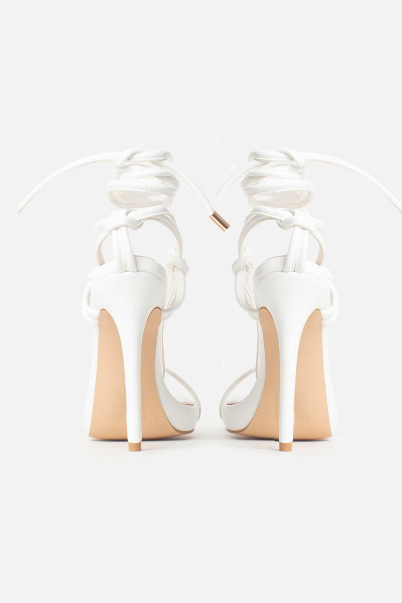 Jamilla Lace Up Stiletto Heels In White Vegan Leather
