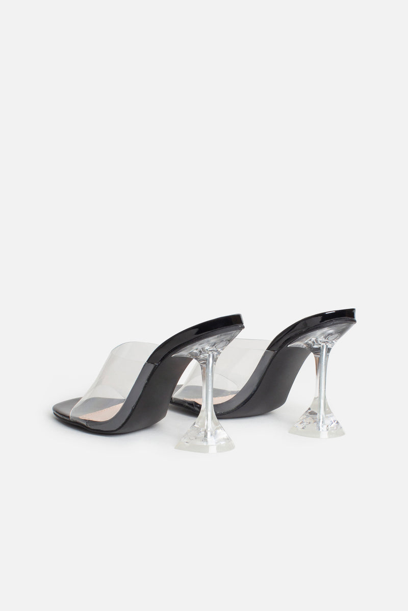 Ines Perspex Mules In Black Vegan Leather