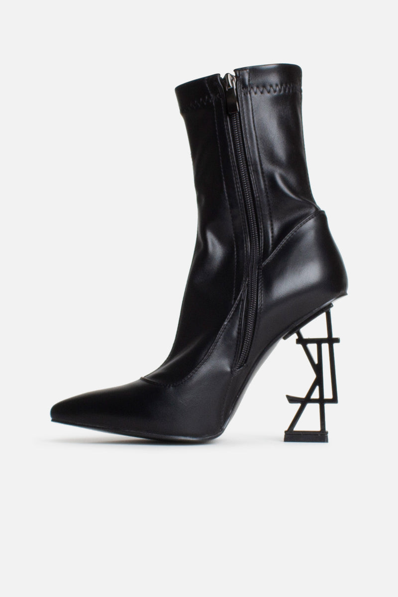 LTK Logo Ankle Boots in Black Matte Vegan Leather