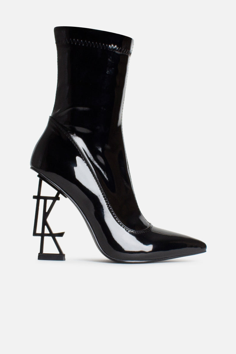 LTK Logo Ankle Boots in Black Patent Vegan Leather