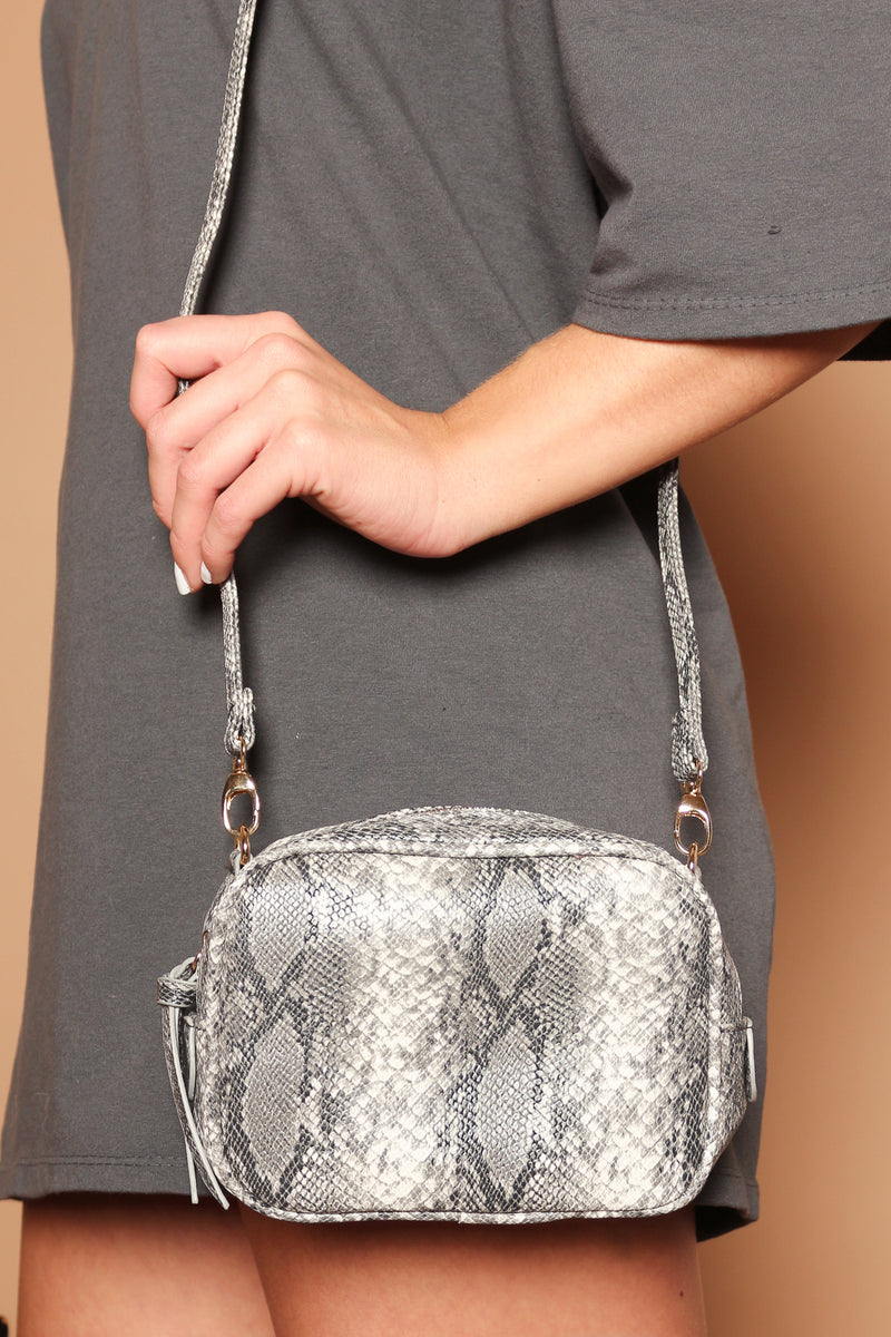 Grey Khala Vegan Snakeskin Strappy Bag