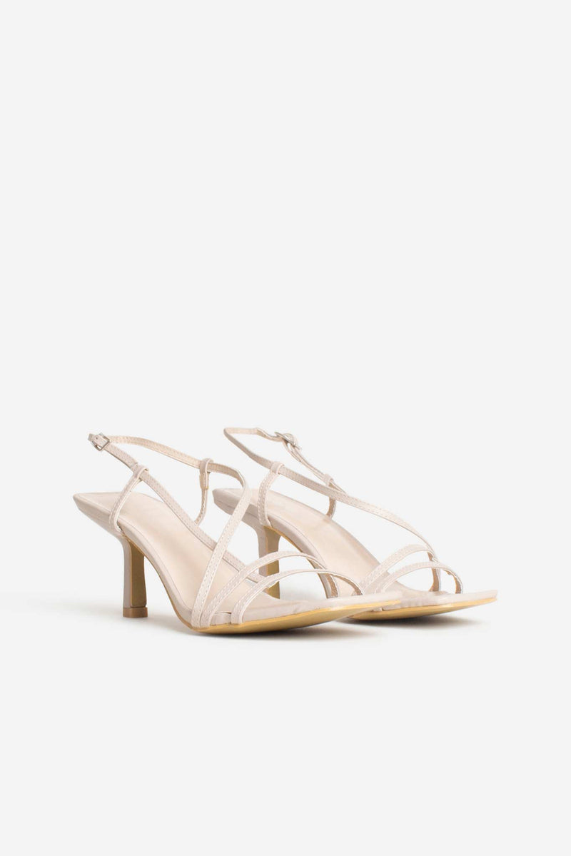 Mini Josephine Strappy Buckle Heels In Beige Vegan Leather