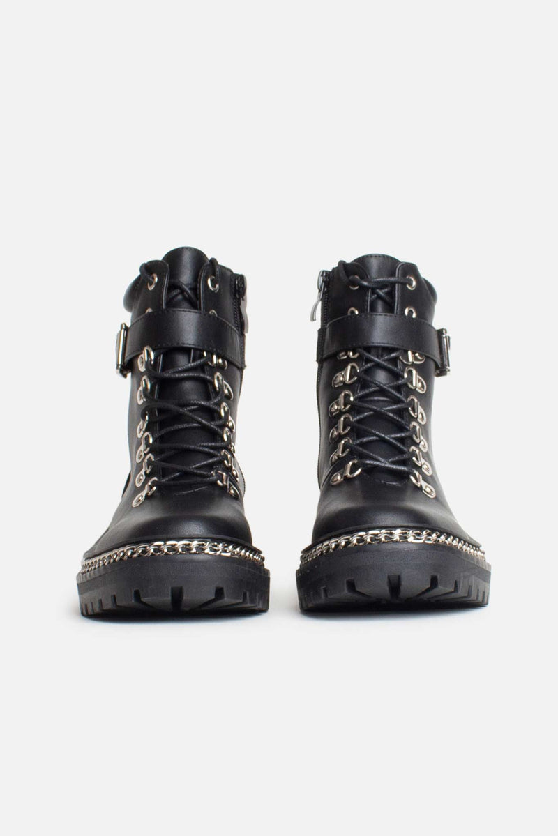 Charlene Chunky Chain Ankle Boots in Black Vegan Leather