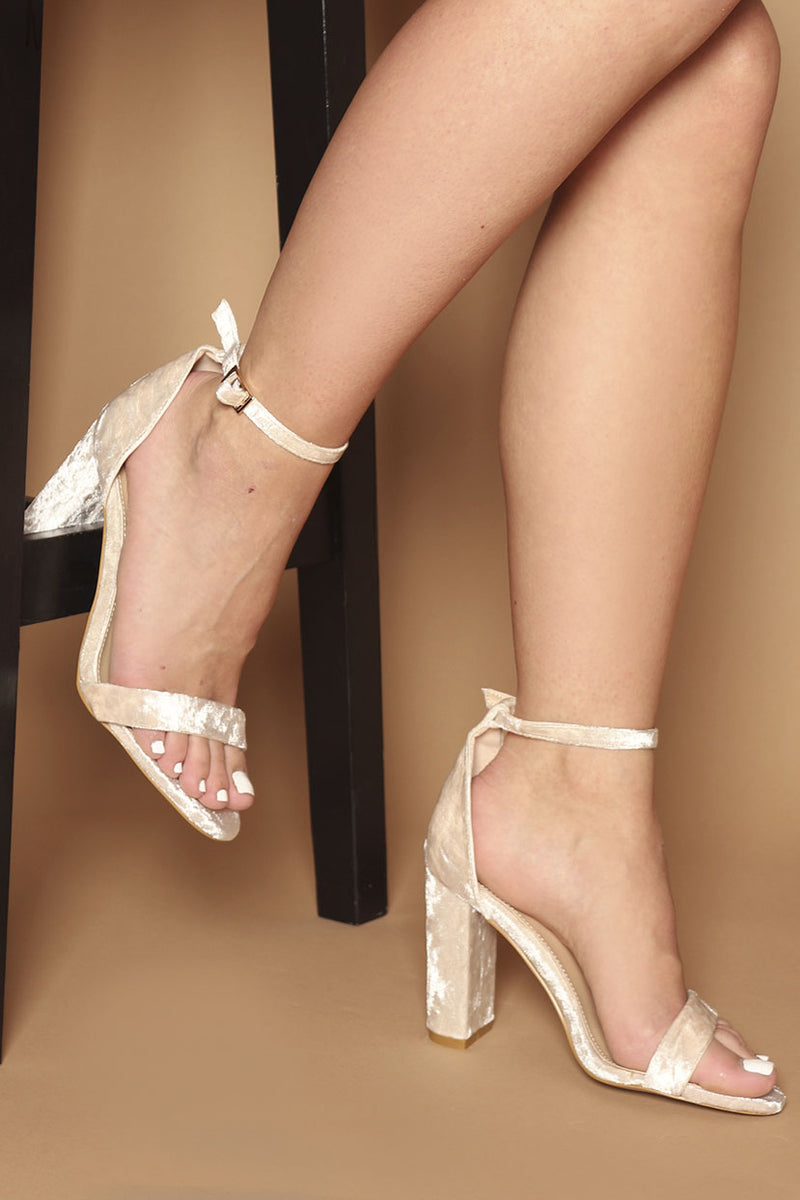 Romy Barely There Block Heels in Nude Beige Faux Velvet