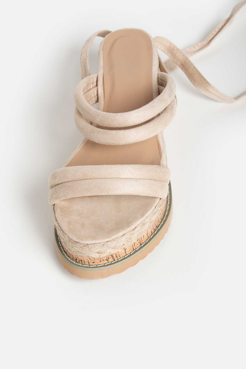 Tula Cork Flatform Sandals in Beige Vegan Suede