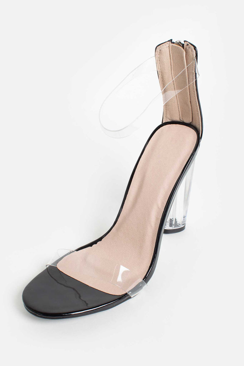 Nada Perspex Heels in Black Vegan Patent Leather