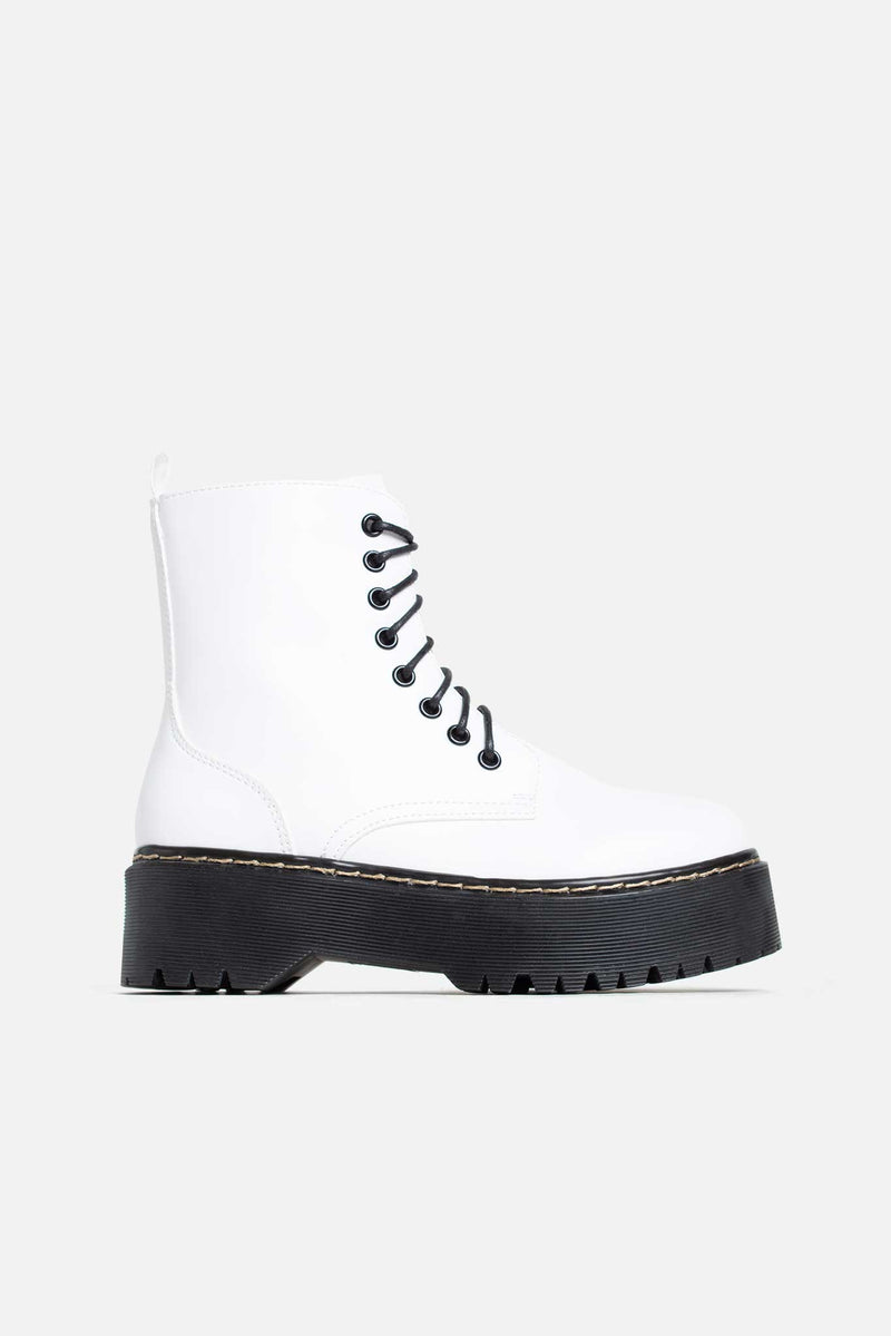 Martha Chunky Platform Boots in White Vegan Leather