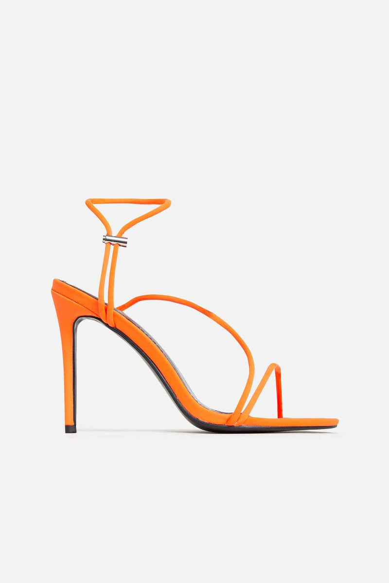 Rebecca Strappy Heels in Orange Vegan Cord