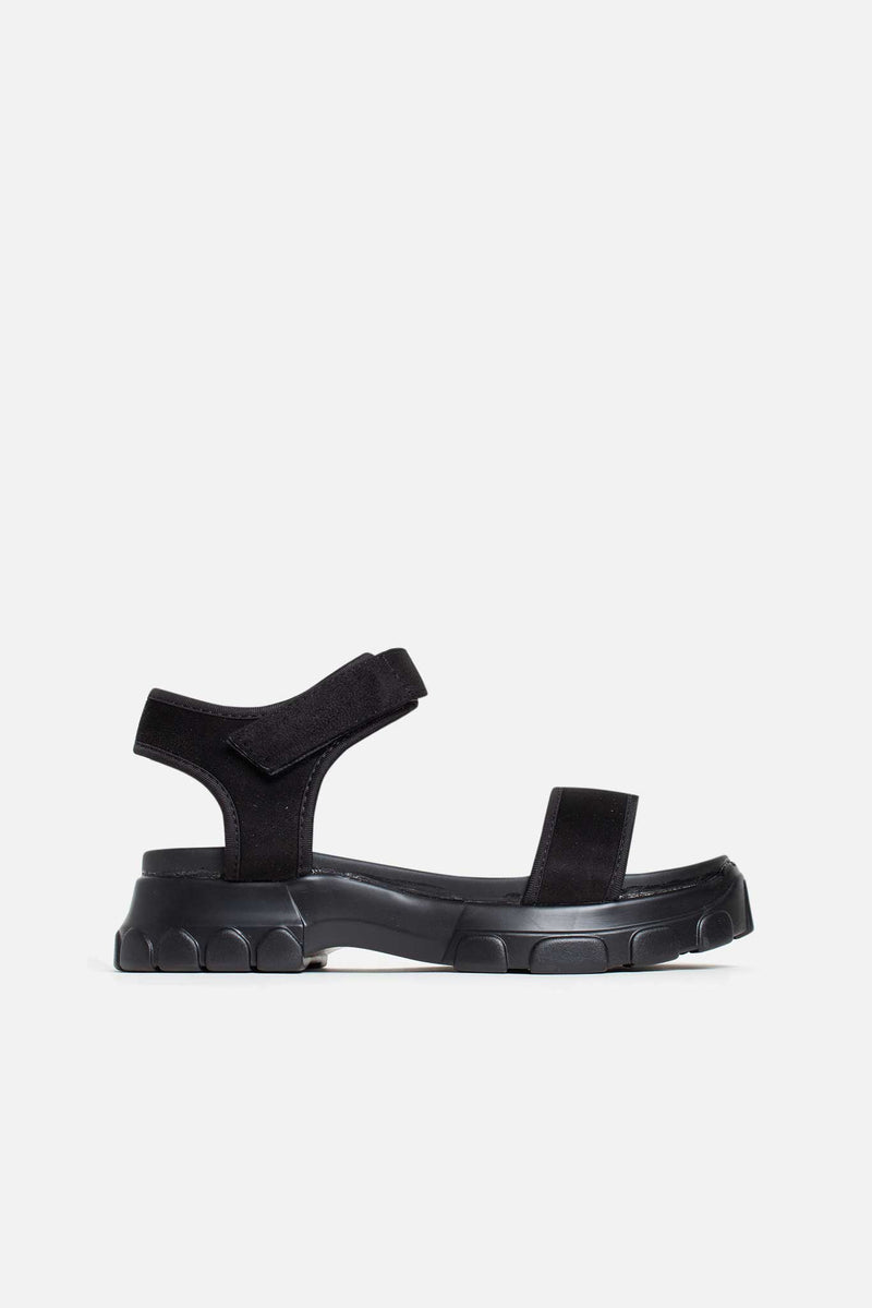 Carmen Chunky Flatform Sandals in Black Lycra