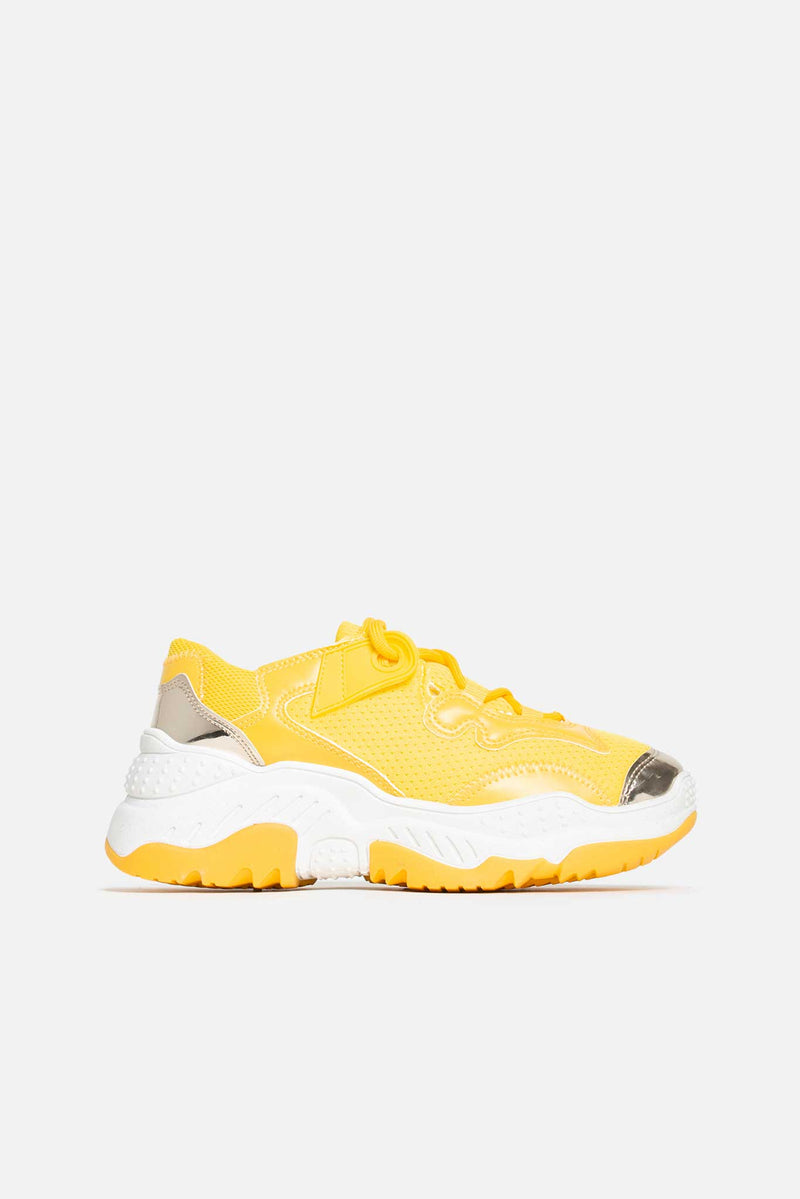 Lia Chunky Lace Up Trainers in Yellow Vegan Leather