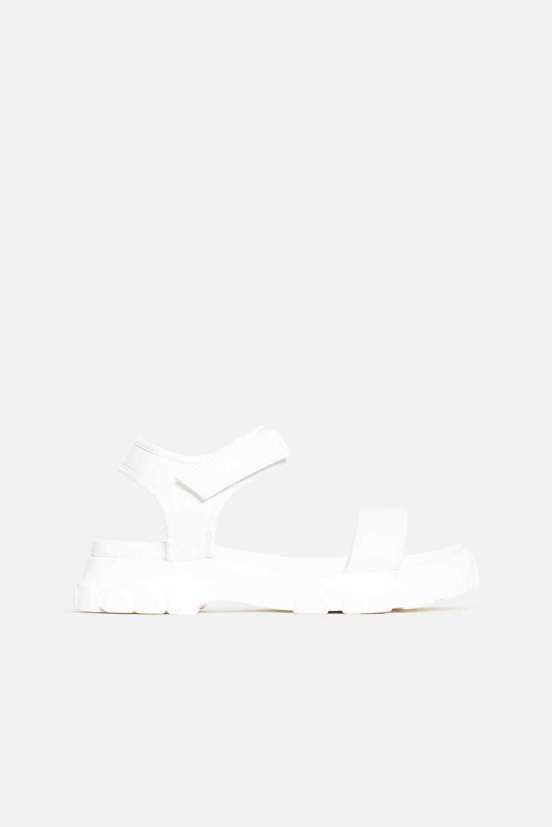 Carmen Chunky Flatform Sandals in White Lycra