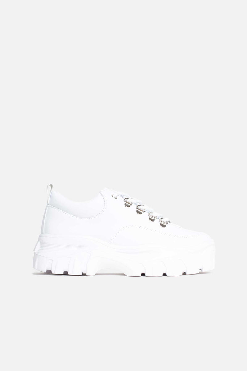 Kara Chunky Lace Up Trainers in White Vegan Leather