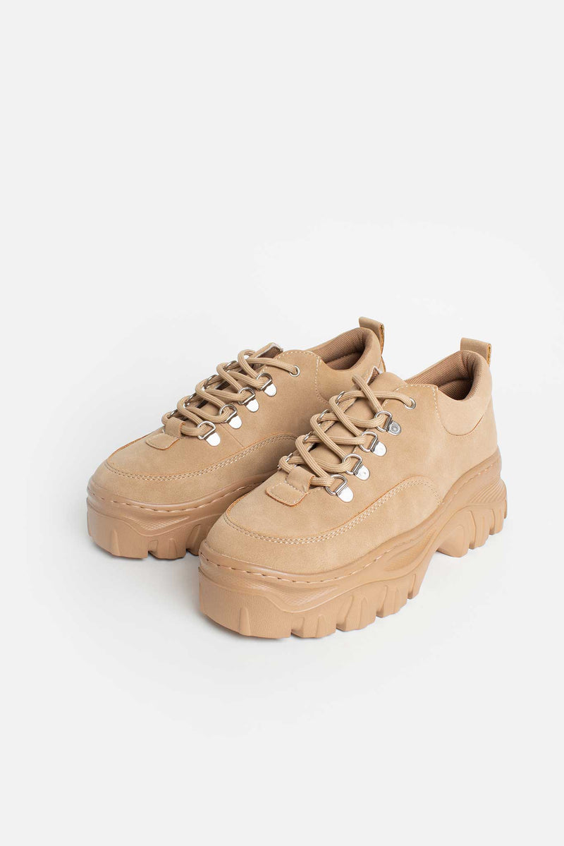 Kara Chunky Lace Up Trainers in Tan Vegan Leather