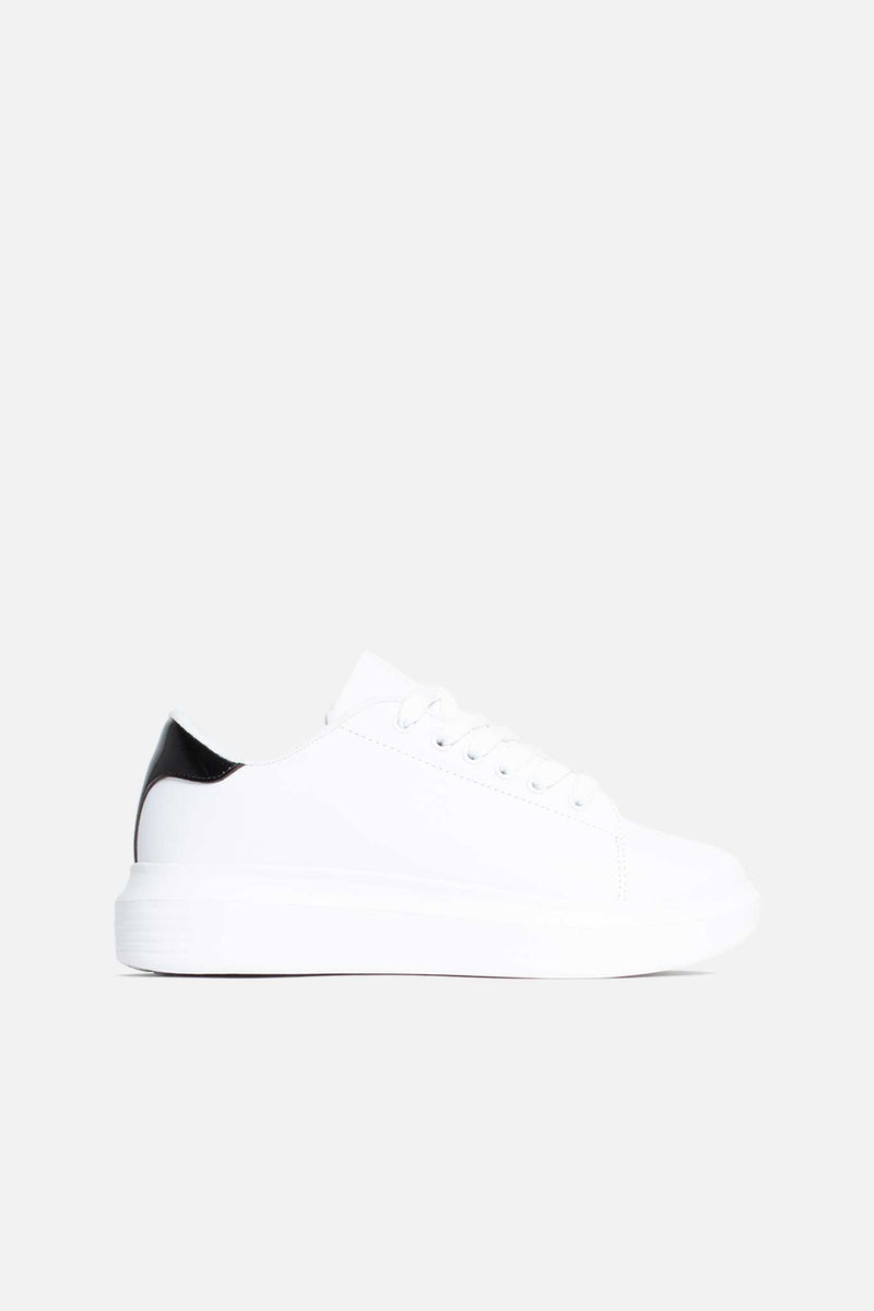 Avery Black Trim Lace Up Trainers in White Vegan Leather