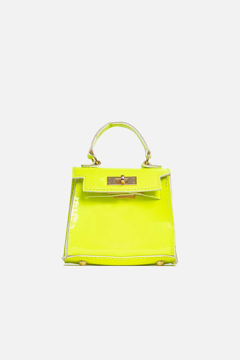 Neon Lime Green Vegan Leather Chain Mini Bag