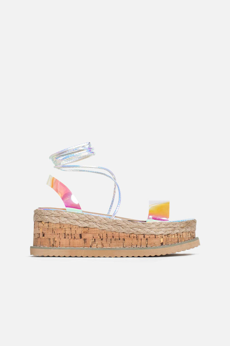 Lala Cork Flatform Sandals in Iridescent Silver Vegan Leather