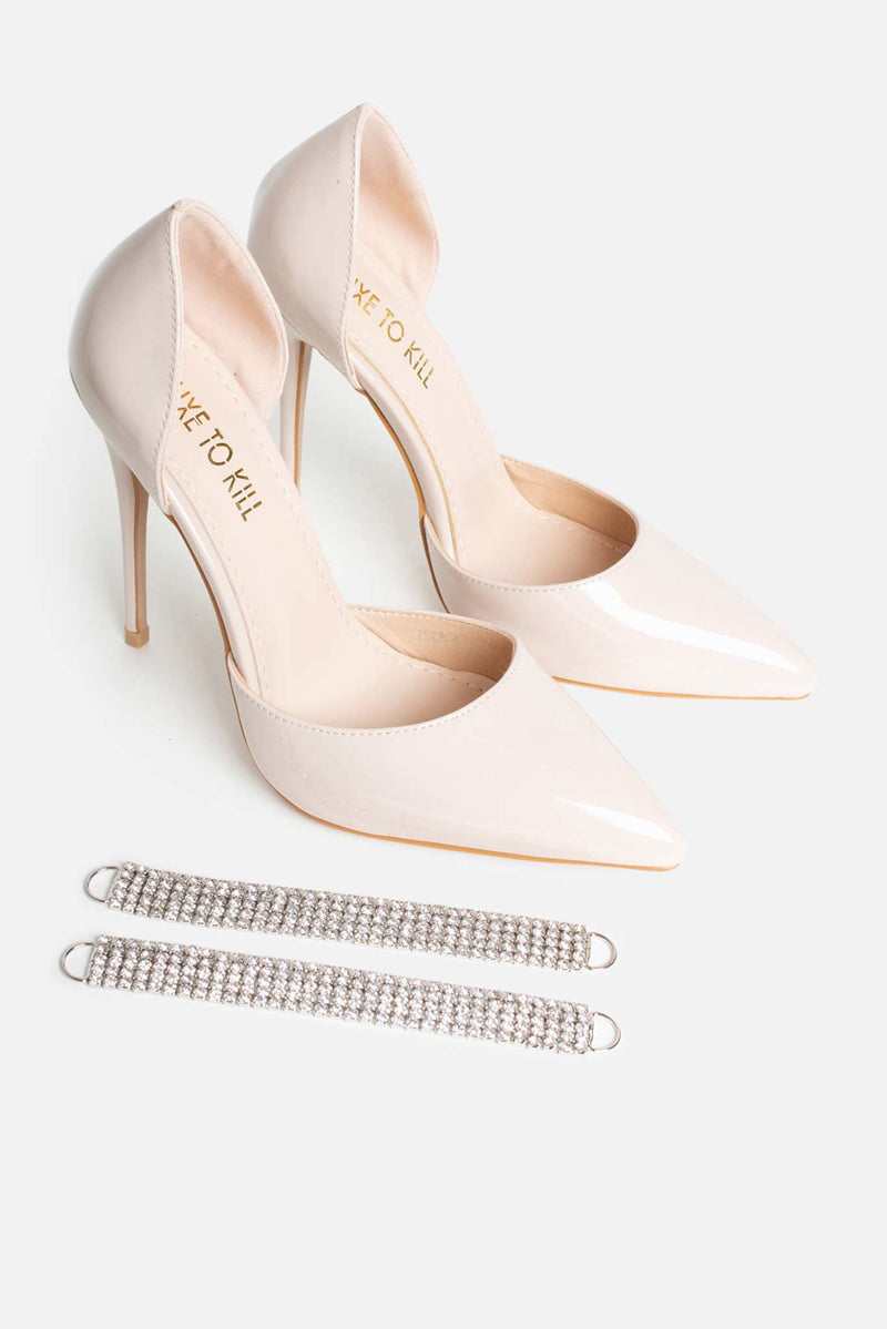 Isla Point Diamante Anklet Heels in Beige Patent Vegan Leather