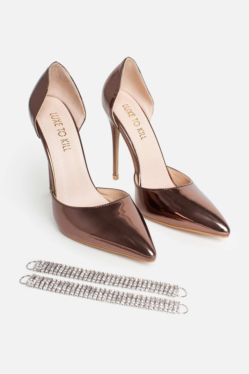 Isla Point Diamante Anklet Heels in Bronze Patent Vegan Leather