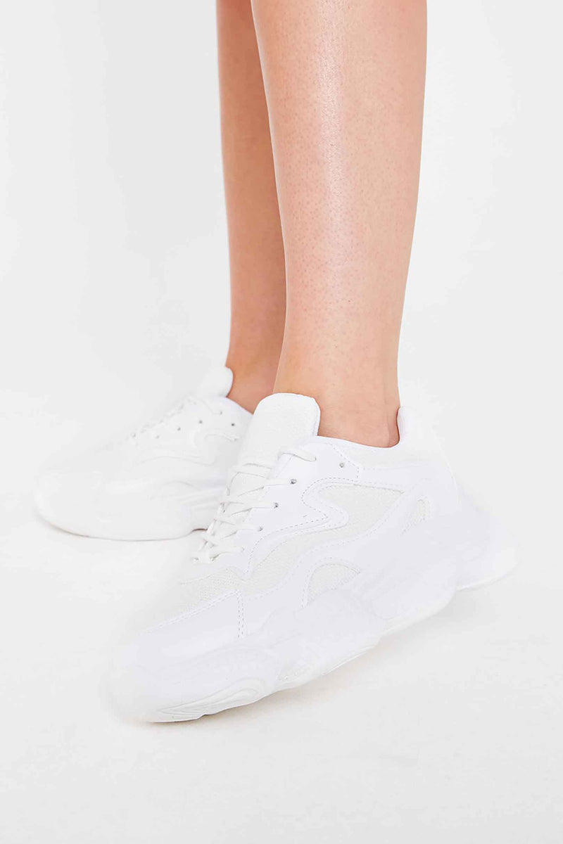 Yara Chunky Lace Up Trainers in White Vegan Suede
