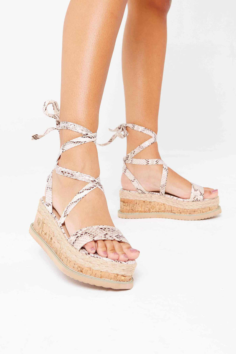 Lala Cork Flatform Wrap Sandals In Beige Snake Vegan Leather